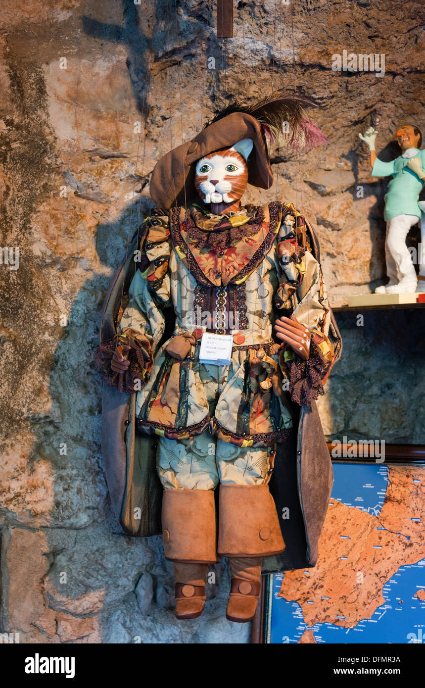 Puppets for sale in the medieval village of Èze in south eastern France. - Stock Image