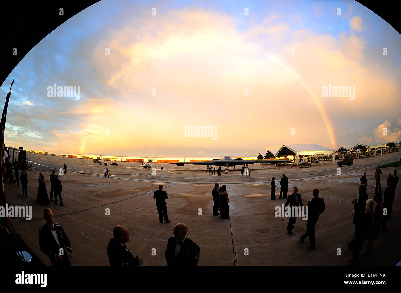 """During the Year of the B-2 Gala at Whiteman Air Force Base, Mo., Sept. 28, 2013, a rainbow made a brief appearance over the """"Spirit of Missouri."""" The gala celebrated the 20th anniversary of the B-2 Spirit stealth bomber, which made its first landing at Wh - Stock Image"""