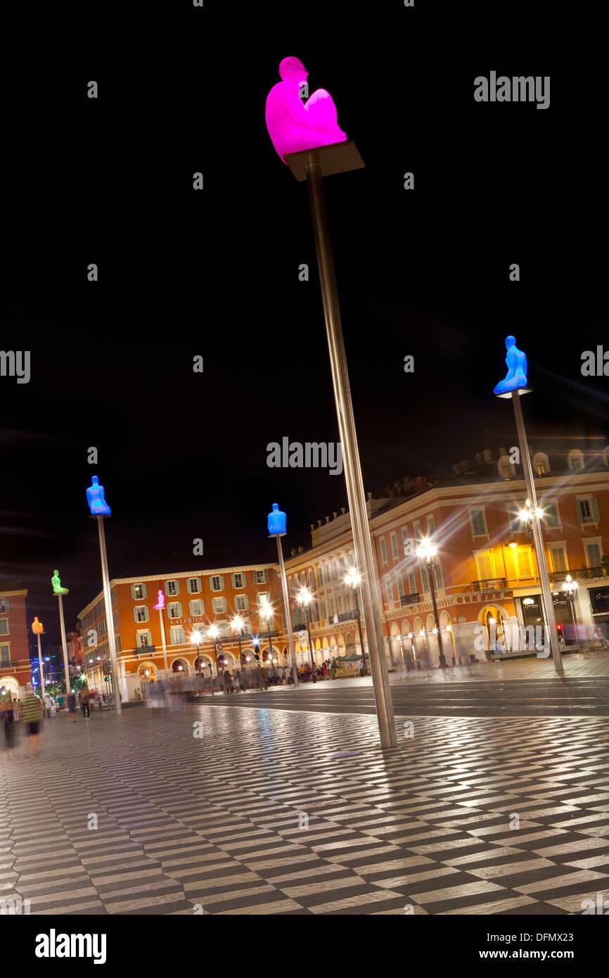 Illuminated sculptures on Place Massena at night, Nice, France, Europe - Stock Image