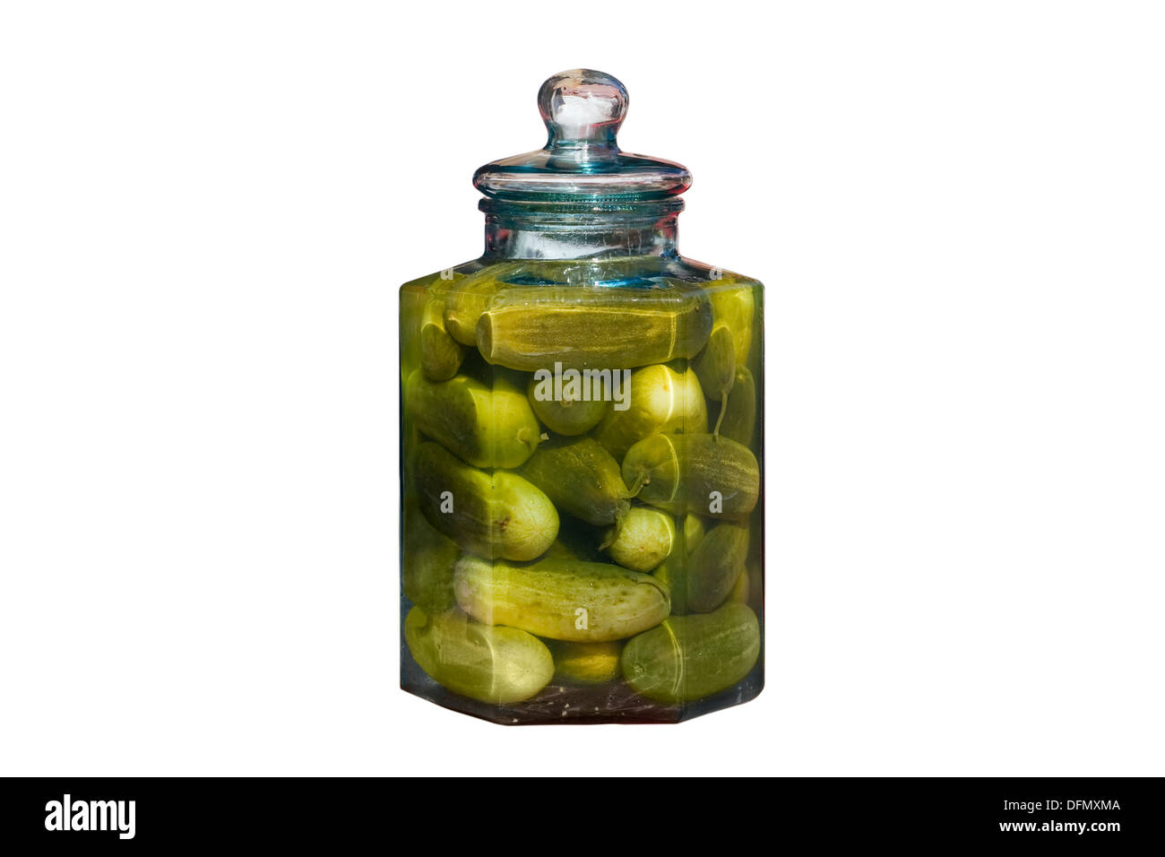 Cut Out. Large glass jar with lid containing whole dill pickles in brine isolated on white background. - Stock Image