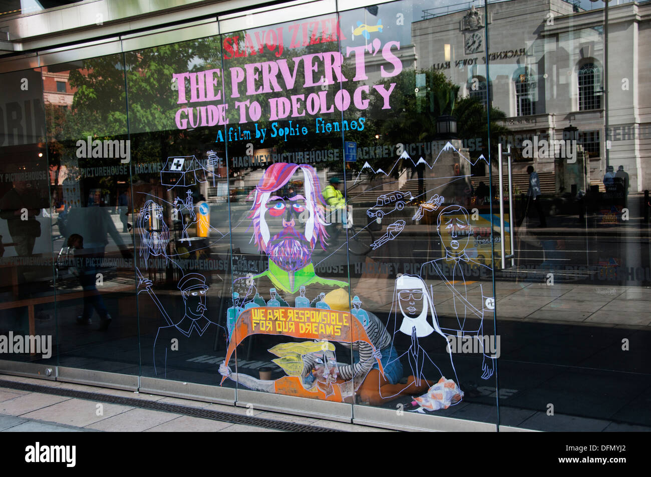Hackney Picture House cinema. A hand painted window advertising Zizek's Perverts guide to ideology. - Stock Image