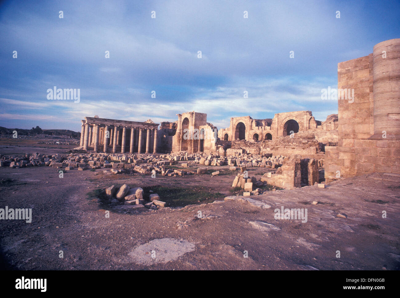 archaeological remains of the ancient Parthian city and Temple of the Sun dating from 100-300 BC in Hatra Iraq Middle - Stock Image