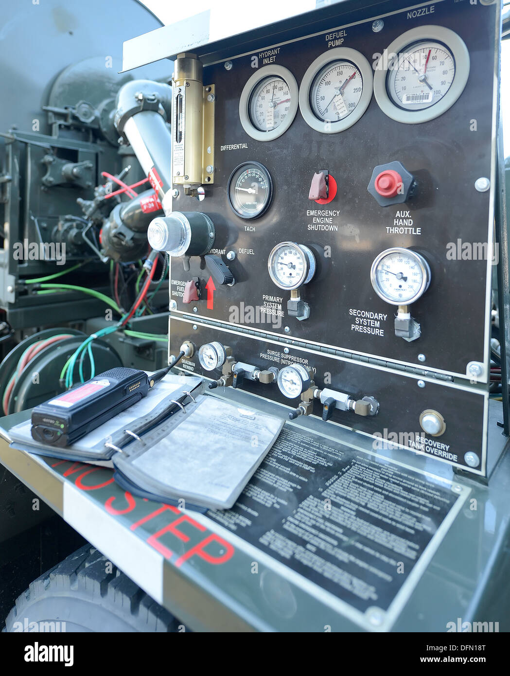 The fuel pump control panel of a 436th Logistic Squadron pump truck shown while fueling a C-5M Super Galaxy. JP-8 jet fuel is pumped in to a C-5M Super Galaxy on the Dover Air Force Base, Del. flightline Oct. 2, 2013. - Stock Image