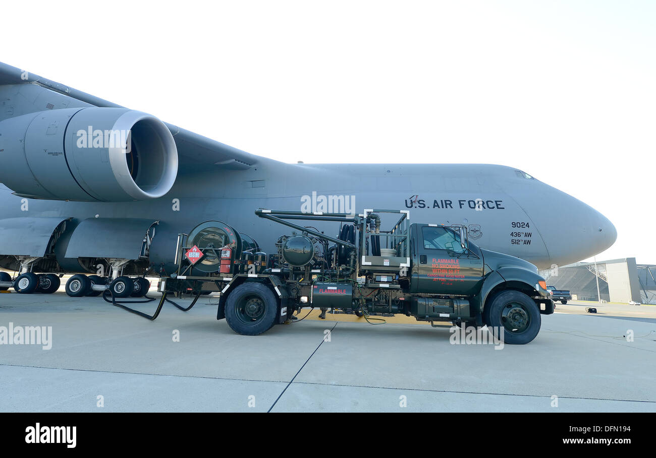 A pump truck of the 436th Logistic Squadron is shown while fueling a C-5M Super Galaxy on the Dover Air Force Base, Del. flightline on Oct. 2, 2013. - Stock Image