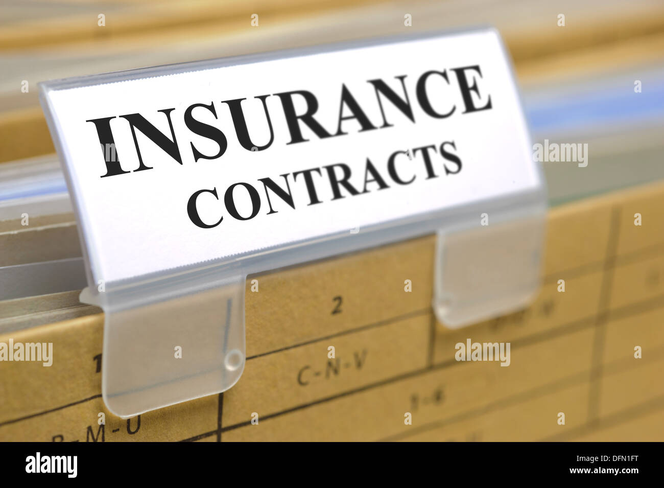 folder marked with insurance contracts - Stock Image