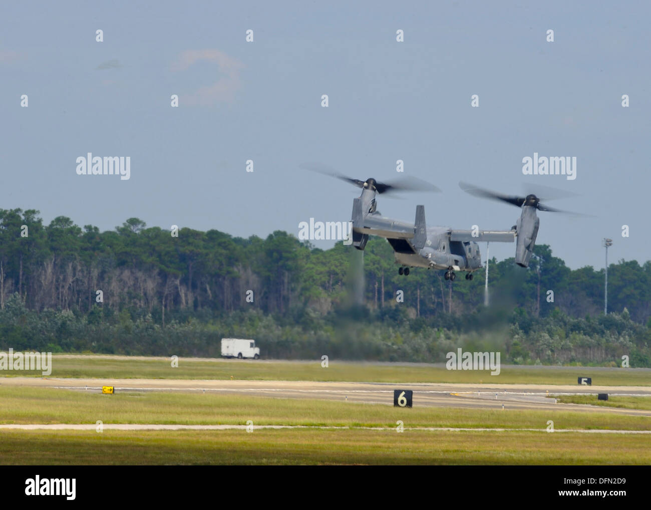 A U.S. Air Force CV-22 Osprey departs Hurlbut Field, Fla., Oct. 3, 2013. The aircraft is leaving as part of the preparation for - Stock Image