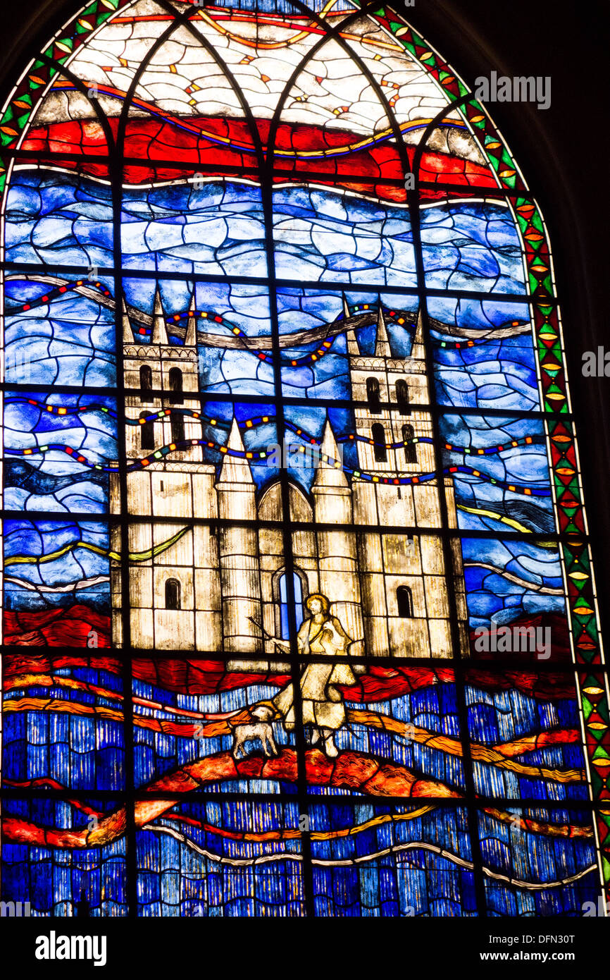 stain glass window in Saint Roch church in old quarter of Montpellier, Herault, Languedoc Roussillon France - Stock Image