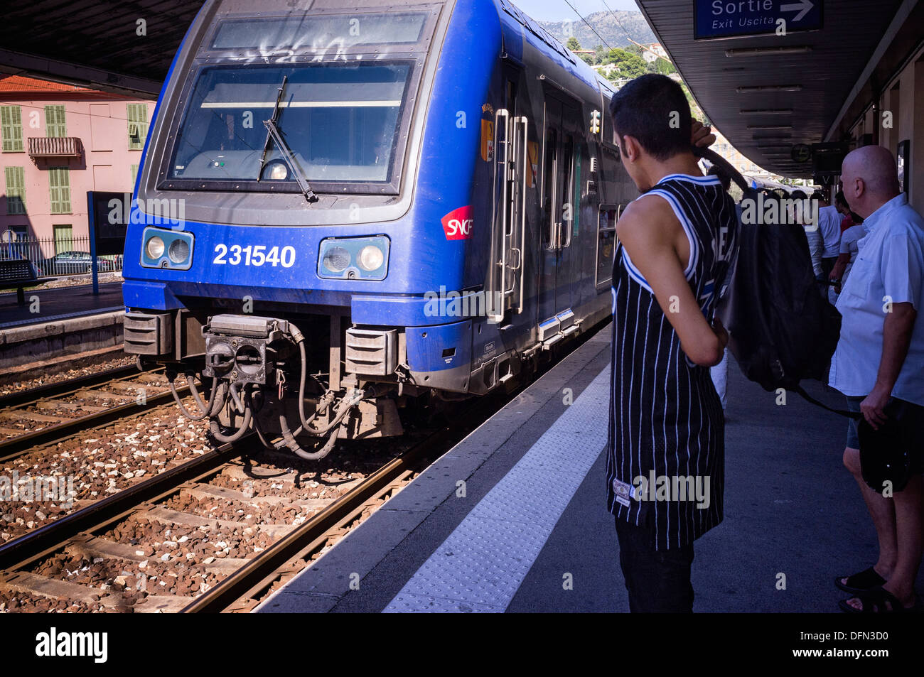 French SNCF Train pulling into station. - Stock Image