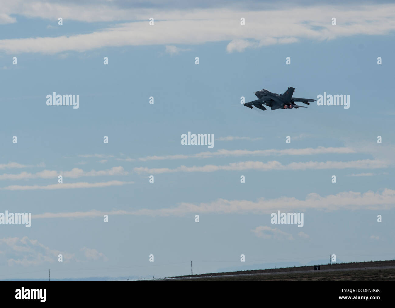 A German Air Force AG-51 Tornado takes to the sky for an Exercise Mountain Roundup 2013 orientation flight at Mountain Home Air - Stock Image