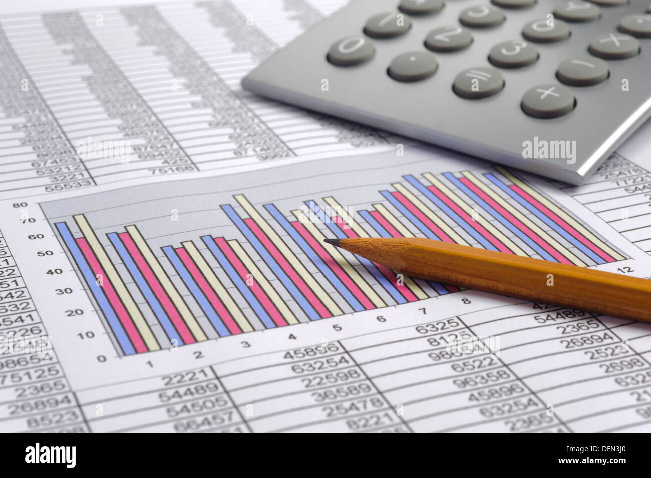 finance business calculation with calculator, chart and pencil - Stock Image