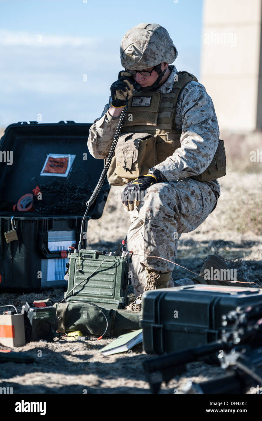 U.S. Marine Lance Cpl. Salome Sanchez, 1st Air Naval Gunfire Liaison Company radio operator, works a close-air support mission - Stock Image
