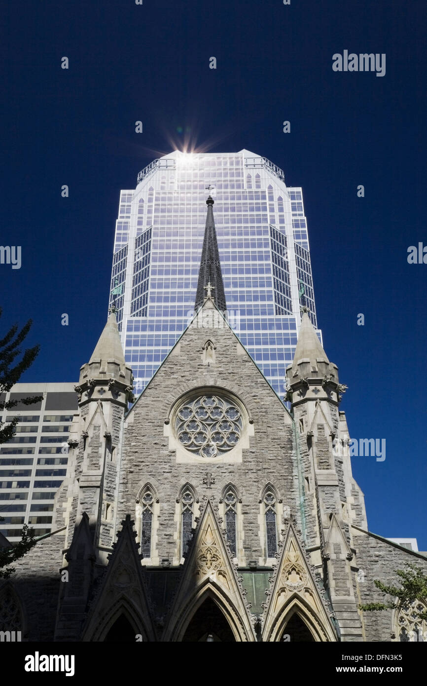 Christ Church Cathedral and Promenades de la Cathedrale office tower, Montreal, Quebec, Canada - Stock Image