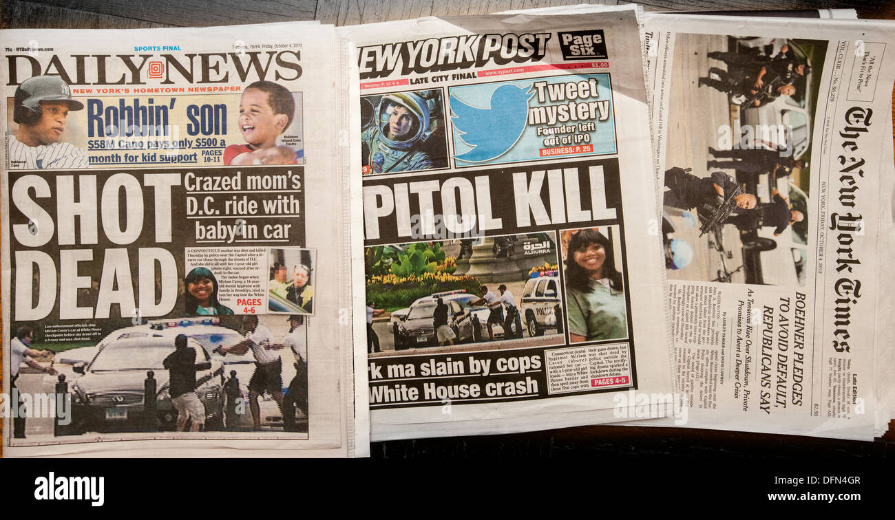 Front pages of New York newspapers report on the previous days shooting of Miriam Carey - Stock Image