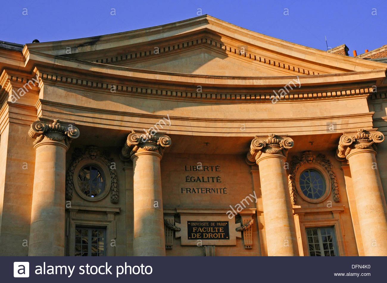 Main entrance to the Law College –Faculte de Droit – in the University of Paris, La Sorbonne  Montparnasse, Paris, Stock Photo