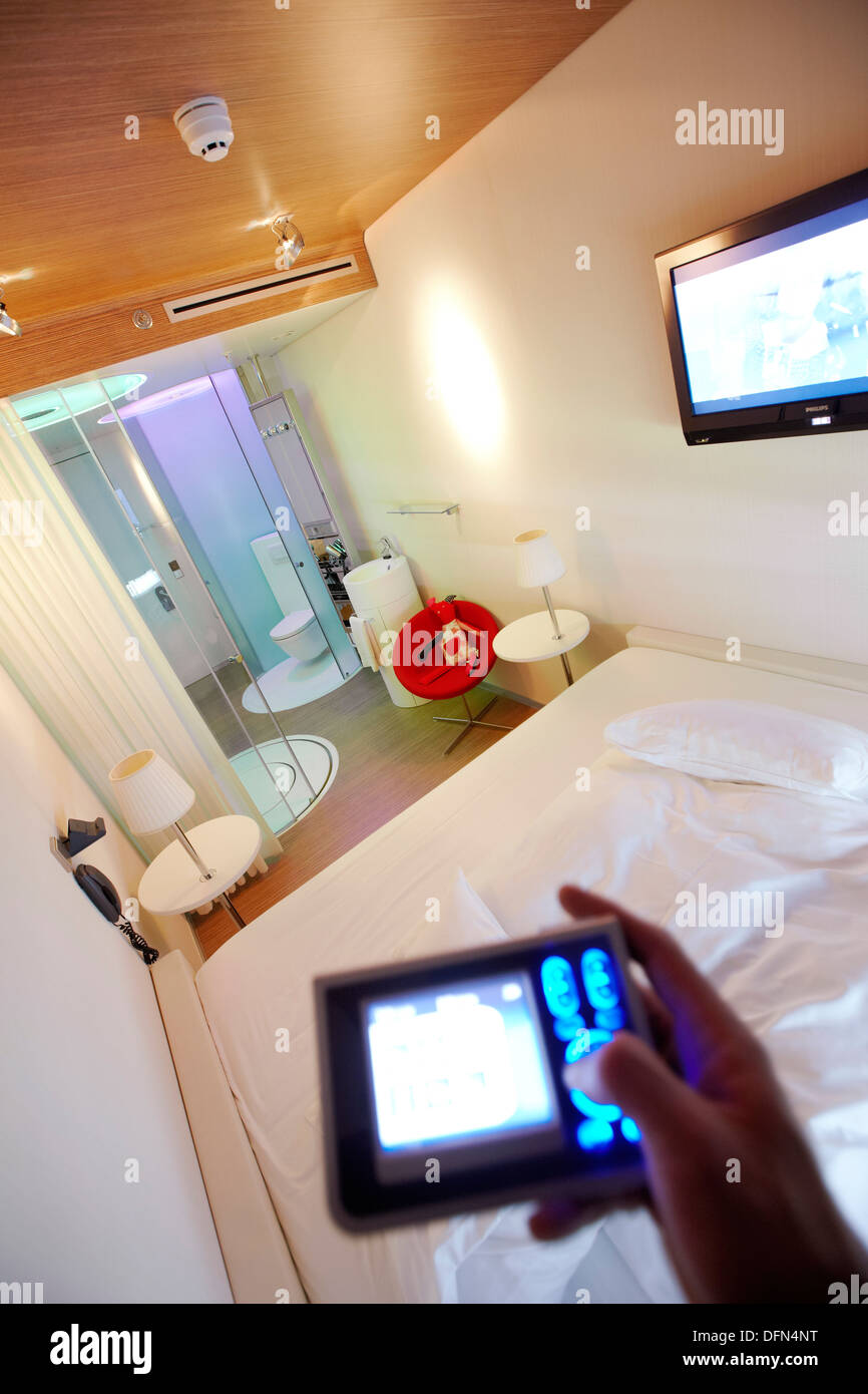 MoodPad by Philips to control room settings, Citizen M Hotel, Amsterdam, Netherlands - Stock Image