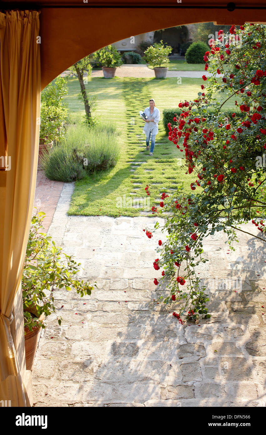 View through rose draped arcades into the garden, Agriturismo and vineyard Ca' Orologio, Venetia, Italy - Stock Image