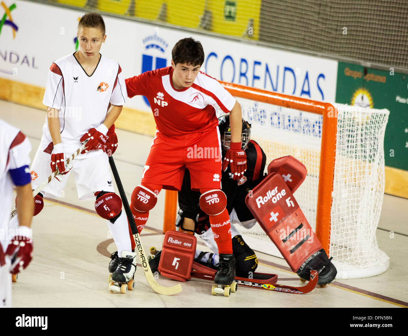 England v Switzerland U17 European Roller Hockey Championship, Madrid 2013 - Stock Image