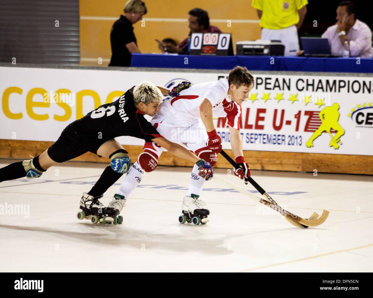 England v Austria U17 European Roller Hockey Championship, Madrid 2013 - Stock Image
