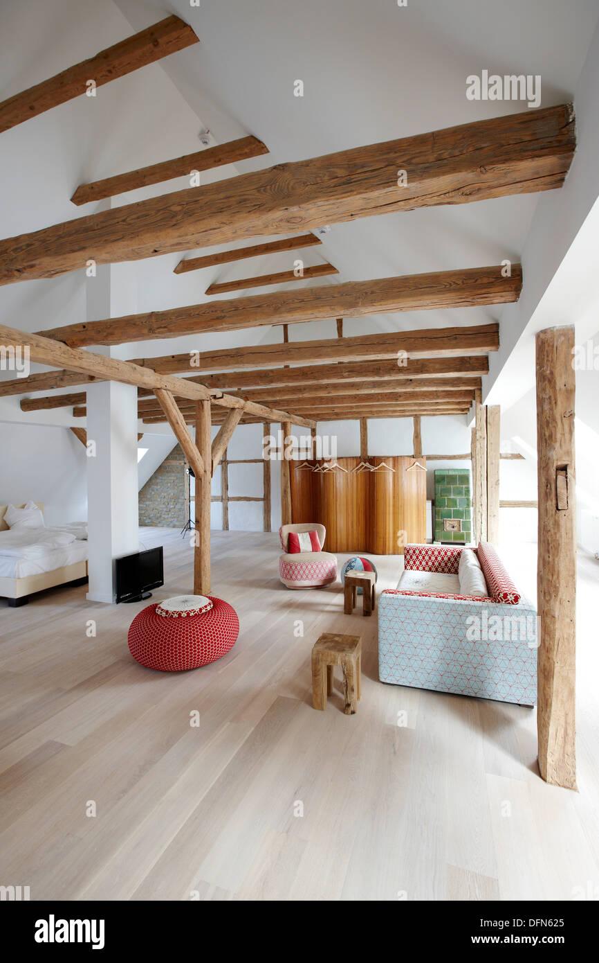 Attic floor apartment, Kavaliershaus Fincken See, Fincken, Mecklenburg- Western Pomerania, Germany - Stock Image