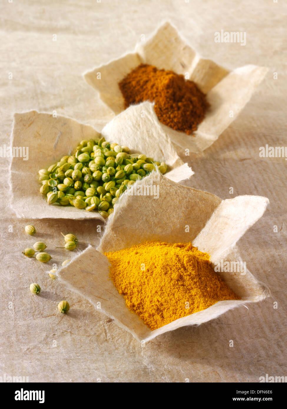 Coriander seed, ground chilli powder & ground turmeric spices - Stock Image