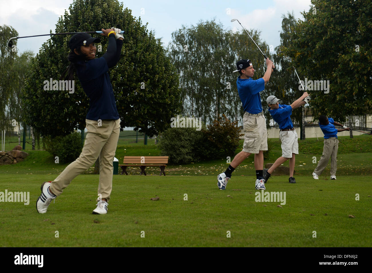 SPANGDAHLEM AIR BASE, Germany-- Bitburg High School students participate in a golf competition at the Eifel Golf Stock Photo