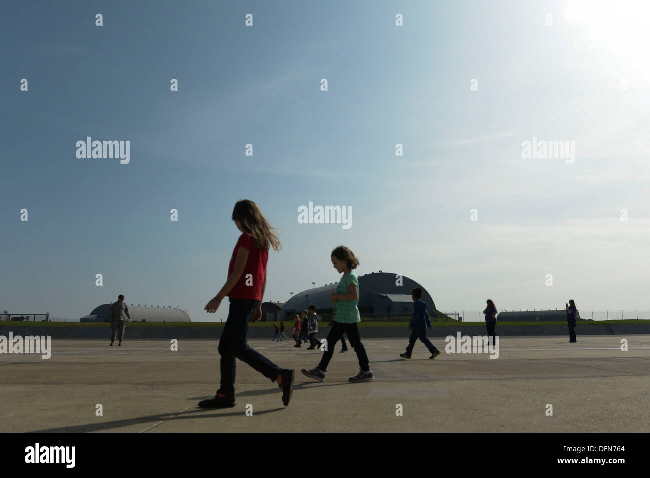 SPANGDAHLEM AIR BASE, Germany—School-Age Program children participate in a foreign object debris walk on the flightline Sept. 27, 2013. The SAP provides a full range of community based before and after school and summer programs that provide a safe, super - Stock Image