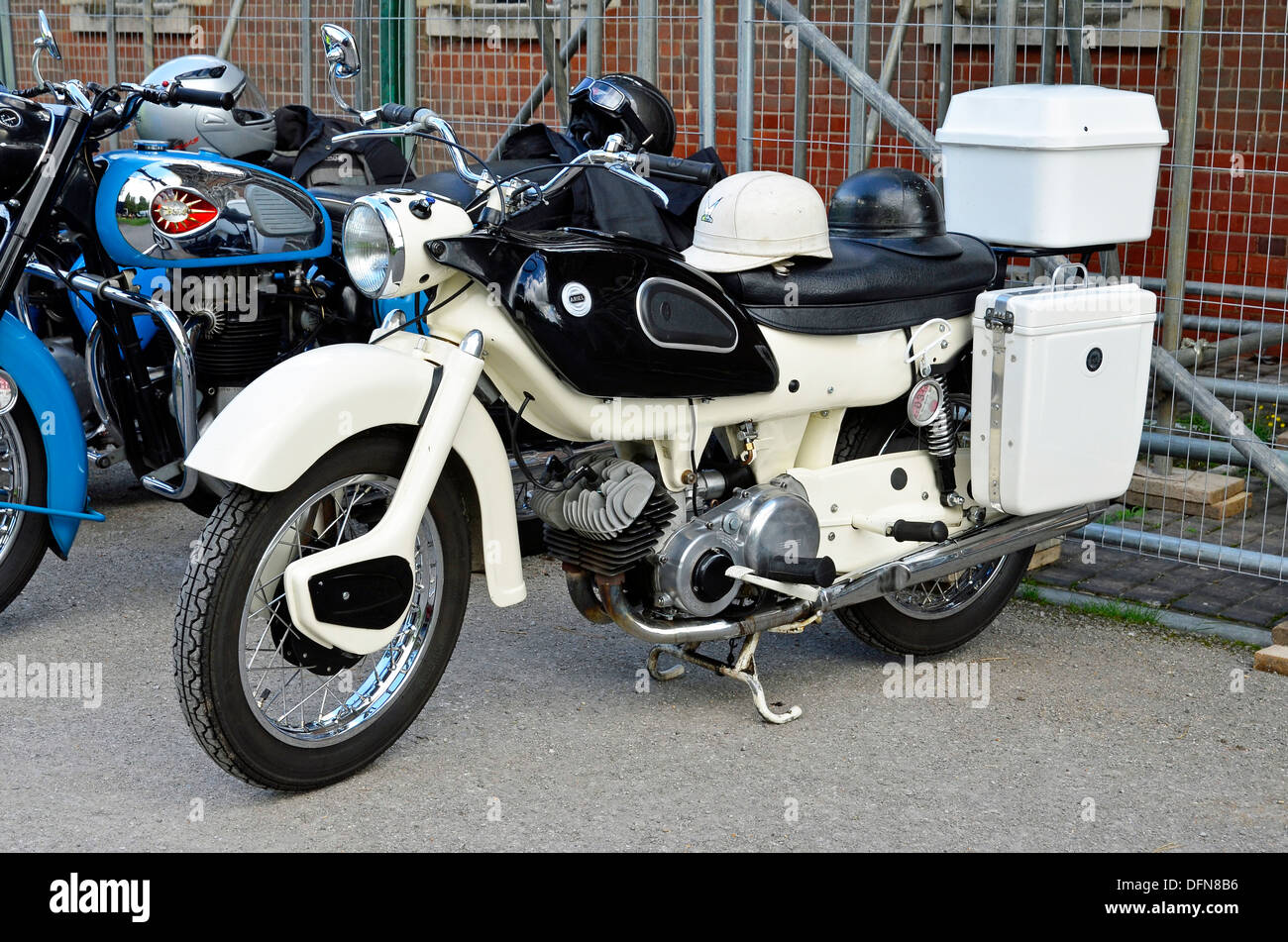 Well restored example of a British Ariel Arrow motorcycle with 250cc