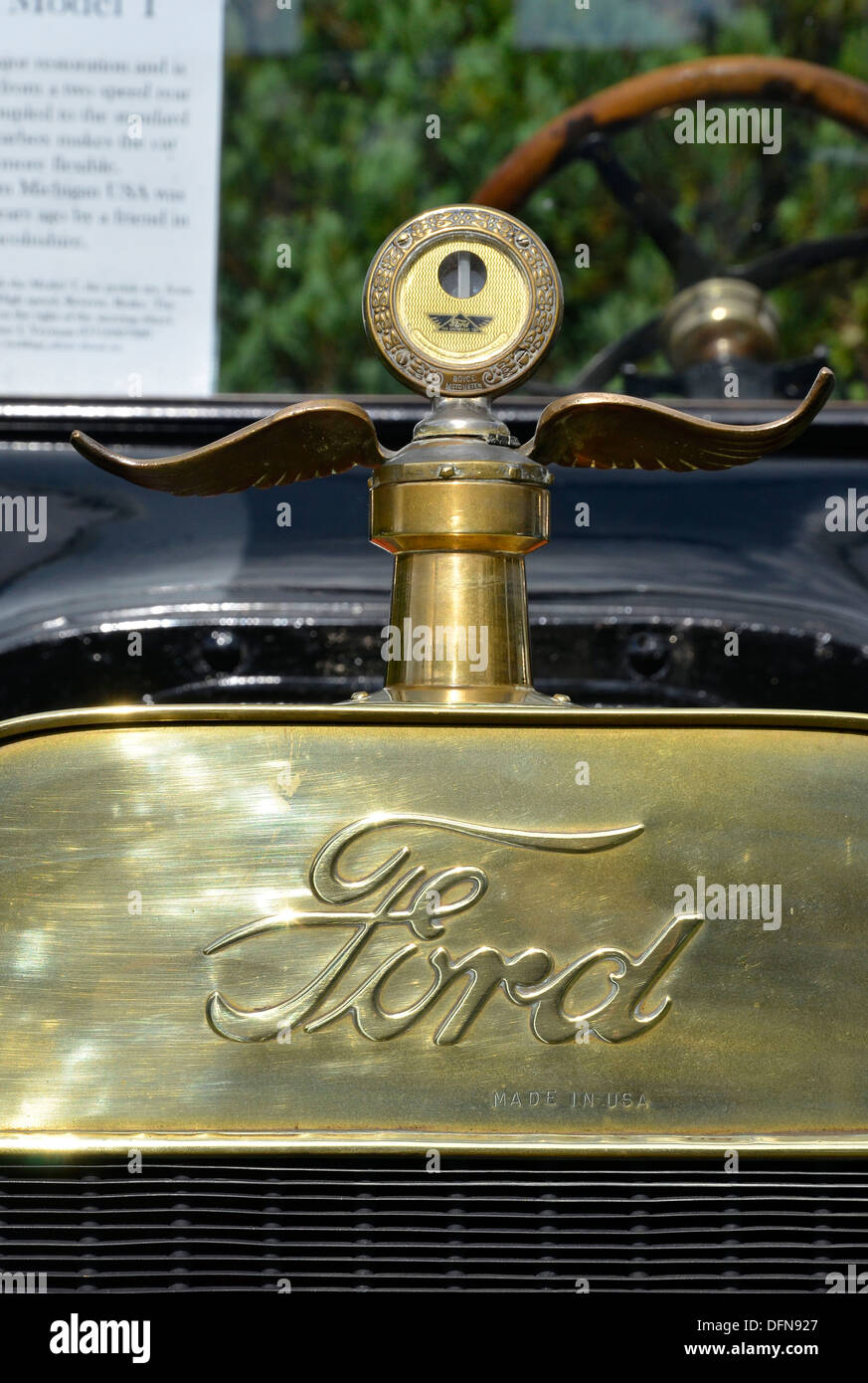 Brass radiator header tank of an original condition 1915 Model T  Ford car (automobile) showing embossed Ford logo. Stock Photo
