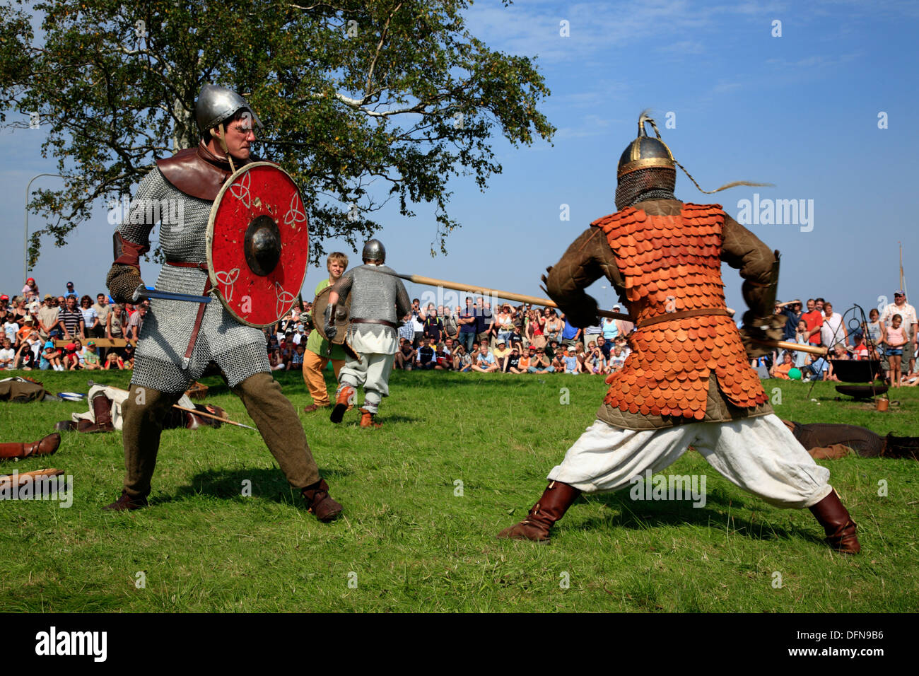 Living history Viking Camp, Schleswig, Schlei, Baltic Sea, Schleswig,-Holstein, Germany - Stock Image
