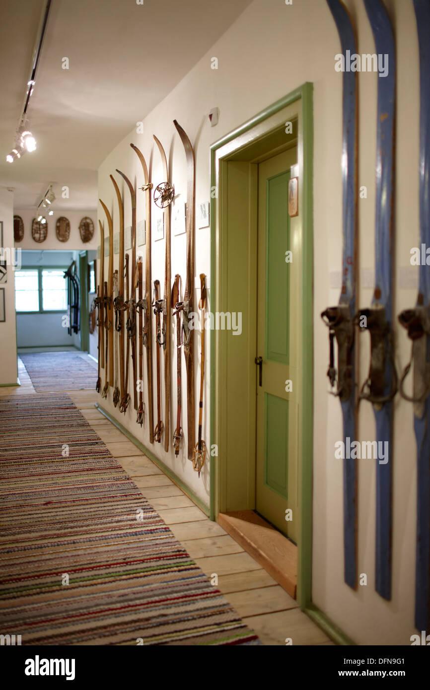 Hallway with ski Museum, Ecohotel Grafenast, Am Hochpillberg, Schwaz, Tyrol, Austria - Stock Image