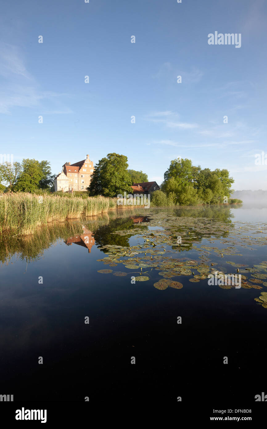 Lake Ulrichshusen, Ulrichshusen castle, Mecklenburg-West Pomerania, Germany - Stock Image