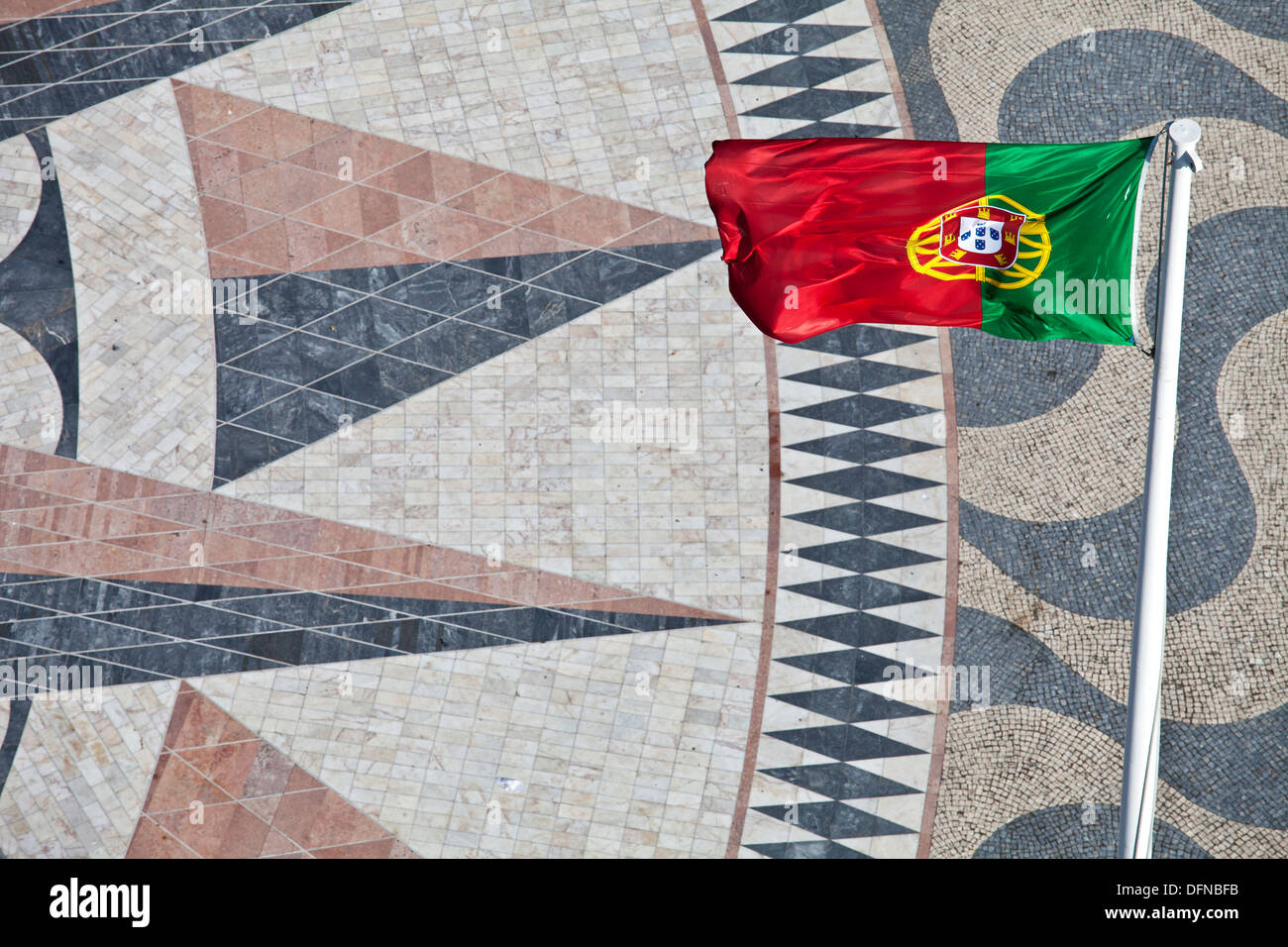 Flag of Portugal and a giant world map at the foot of the Monument to the Discoveries, Padrao dos Descobrimentos, Belem, - Stock Image