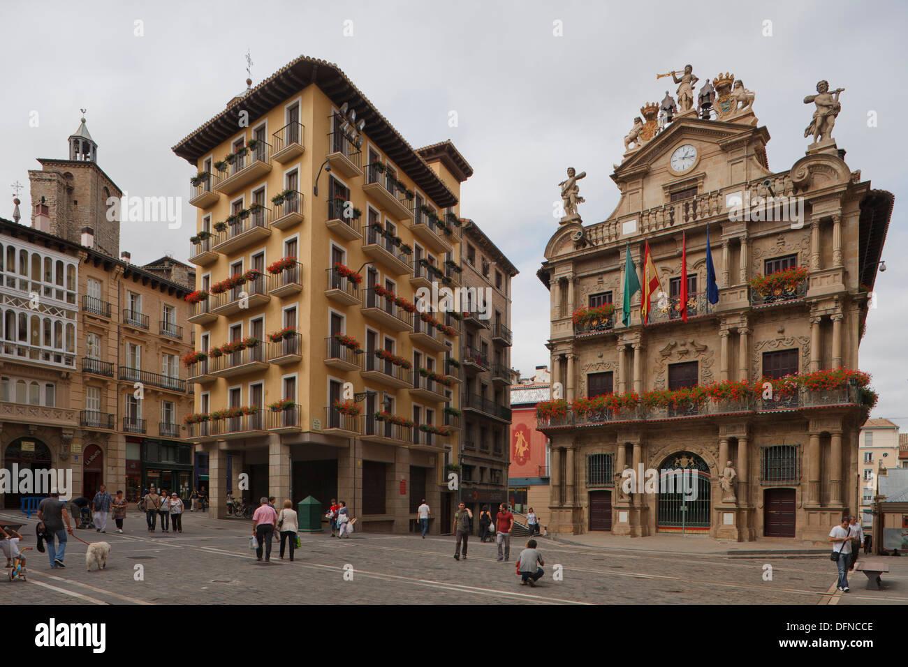 View of the town hall, Pamplona, Camino Frances, Way of St. James, Camino de Santiago, pilgrims way, UNESCO World Heritage, Euro Stock Photo