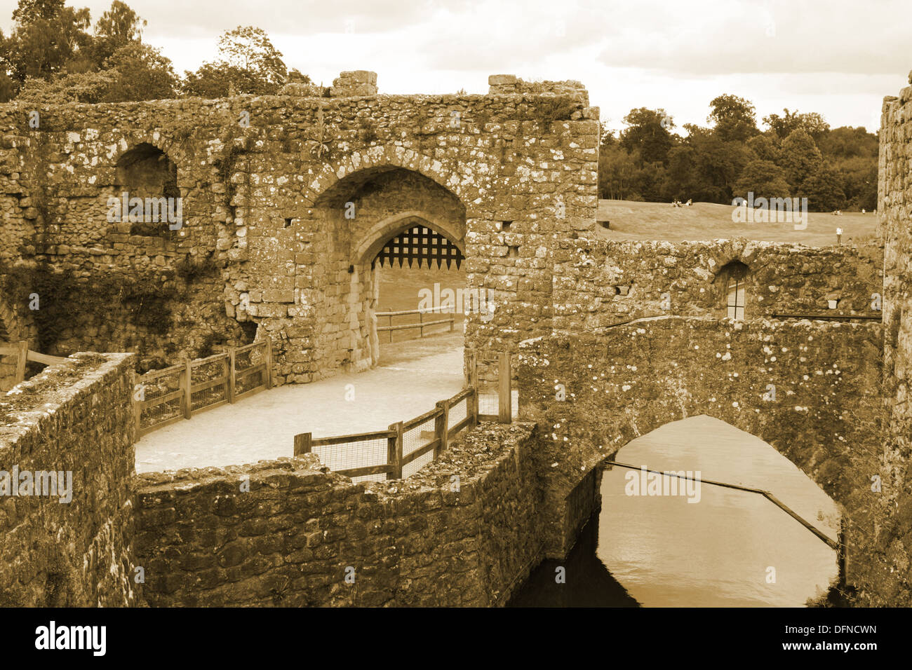 Archways in Leeds castle in sepia tones Stock Photo