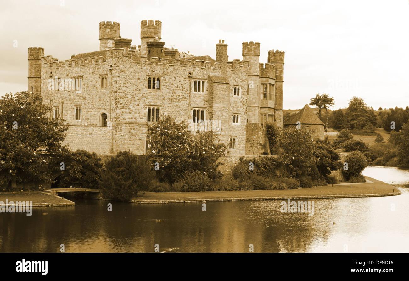 Leeds castle in sepia tones - Stock Image