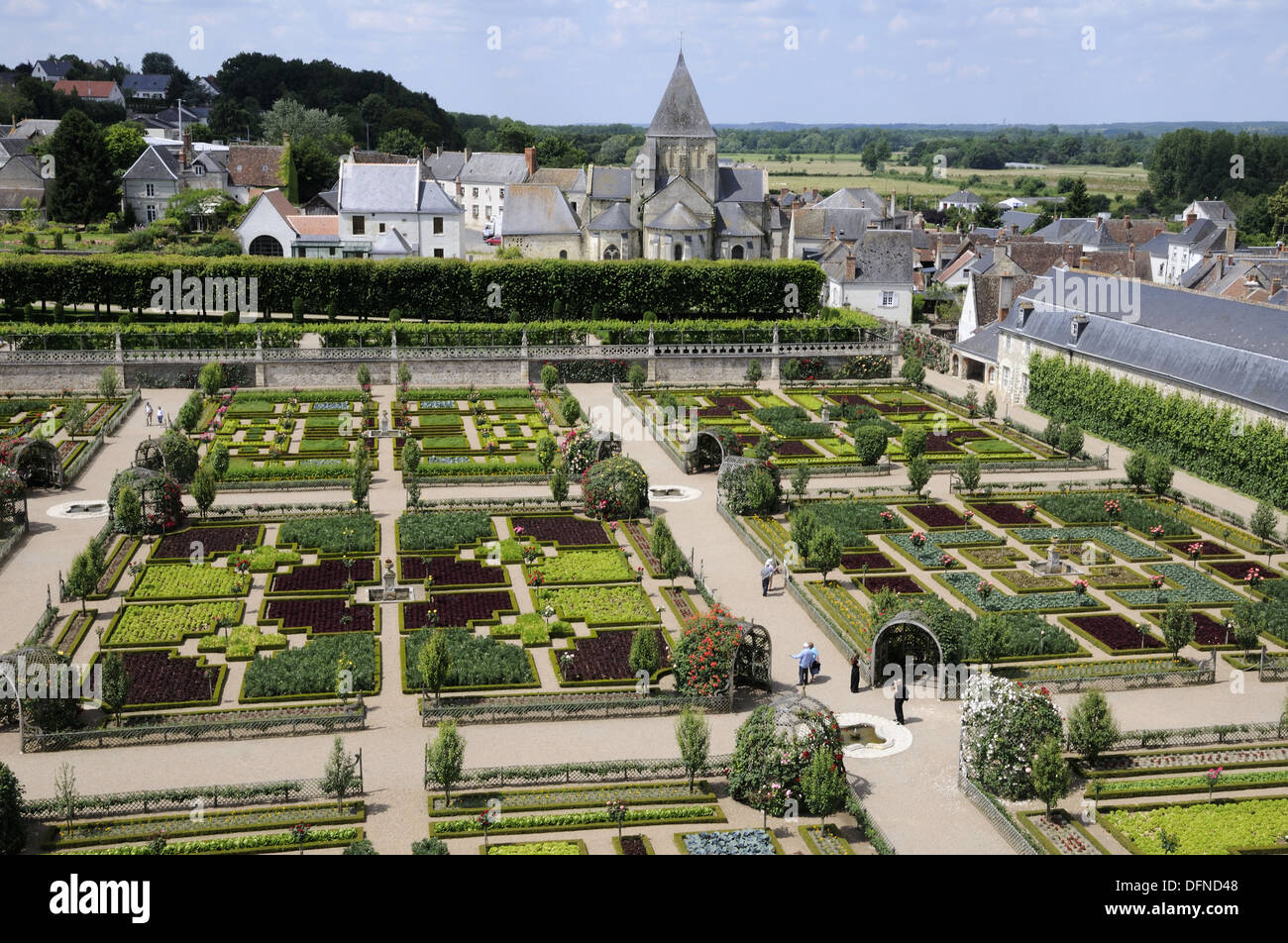 France Villandry 37 Decorative Vegetable Garden In Castle Gardens View From The Top Of Keep