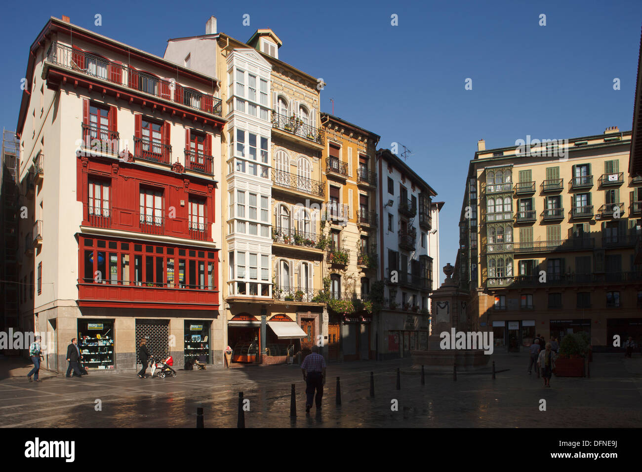 Houses at Plaza del Reverendo Santiago Lasalle square at the old town, Bilbao, Province of Biskaia, Basque Country, Stock Photo