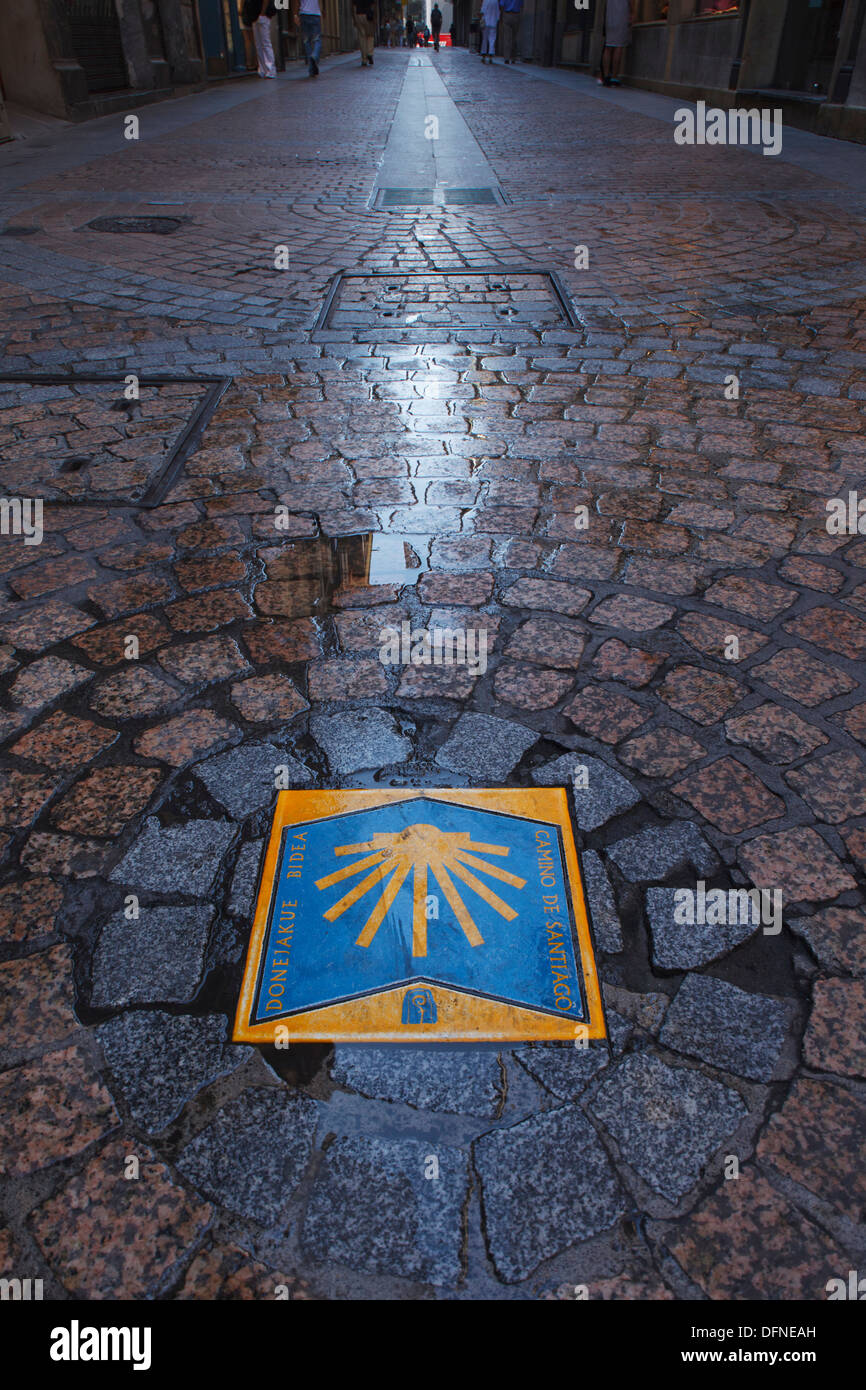 Sign for Way of St. James, Calle de la Tenderia, Bilbao, Camino de Santiago, pilgrims way, Province of Biskaia, Basque Country, - Stock Image