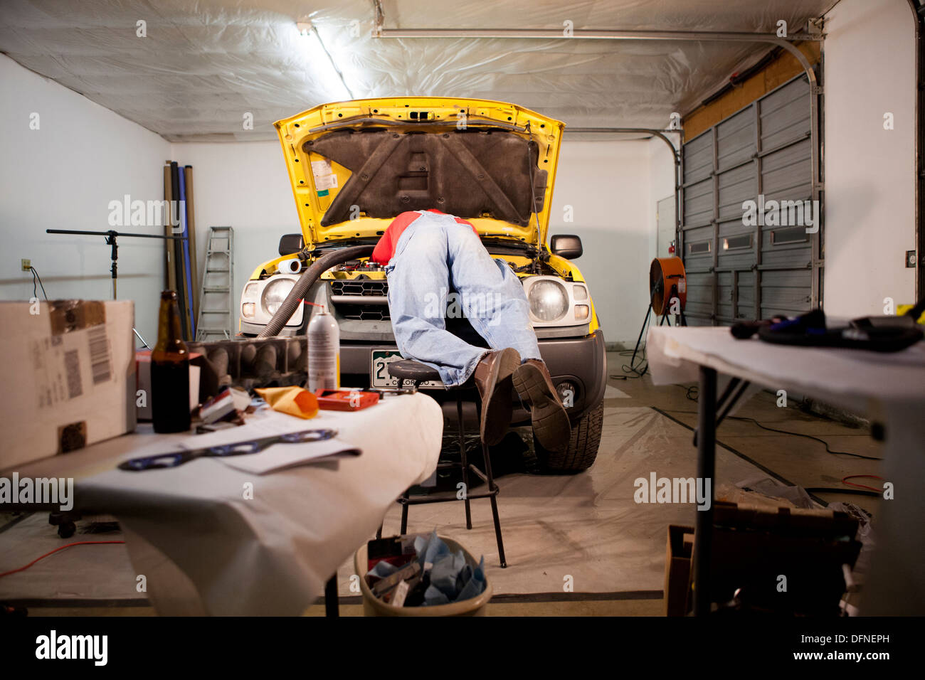 Fixing the supercharger - Stock Image