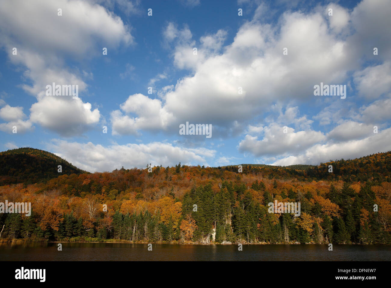 Fall foliage is reflected on the surface of Saco Lake in Crawford Notch, New Hampshire, USA Stock Photo
