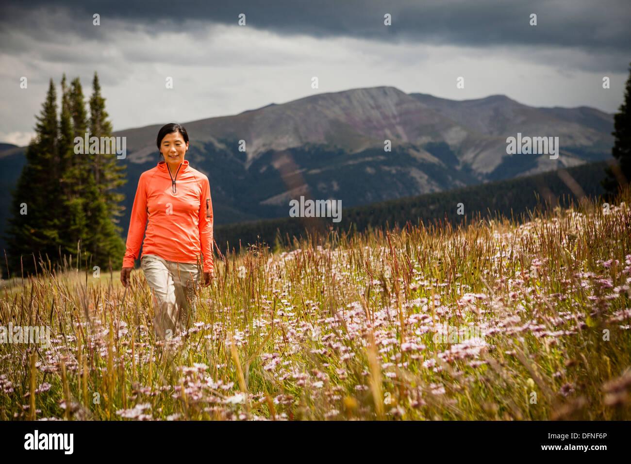 Woman walking in a meadow - Stock Image