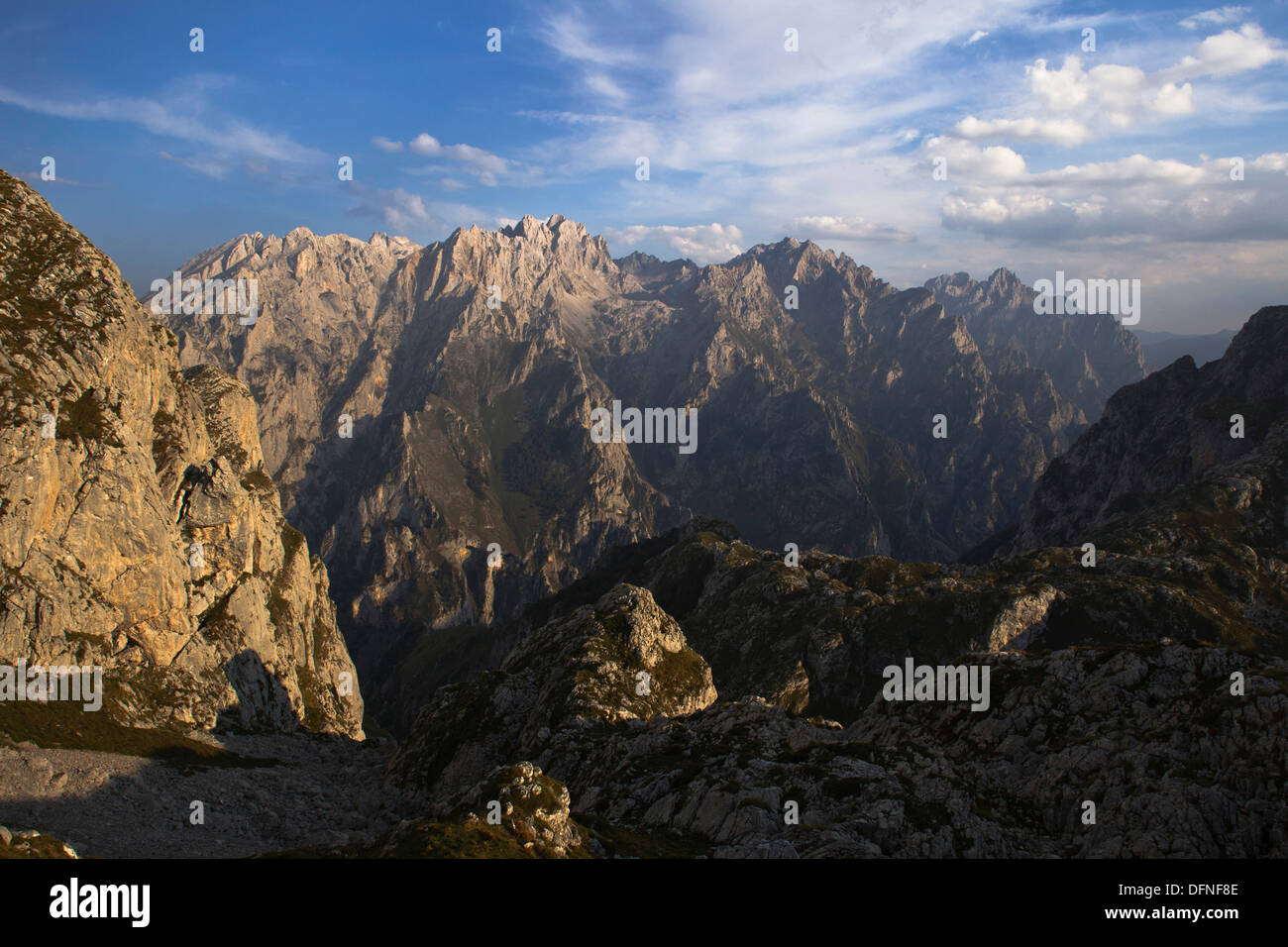 View from the western Picos de Europa, Garganta del Cares, Cares Canyon, peaks of the eastern Picos de Europa, Parque Nacional d - Stock Image