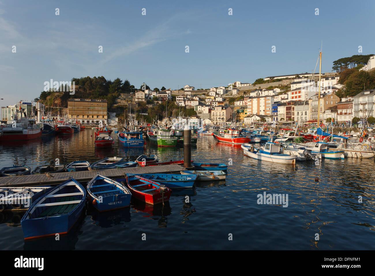 Luarca, seaside town, fishing boats, fishing port, Camino de la Costa, Camino del Norte, coastal route, Way of St. James, Camino - Stock Image