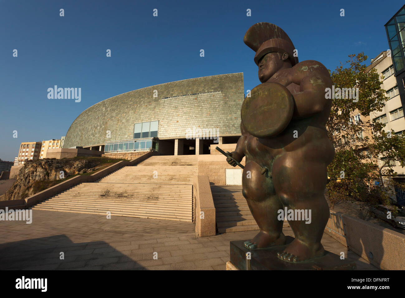 Bronzes statue  Roman warrior  by Fernando Botero, artist, sculptor, Museo Domus, Casa del Hombre, House of the Humans back, arc - Stock Image