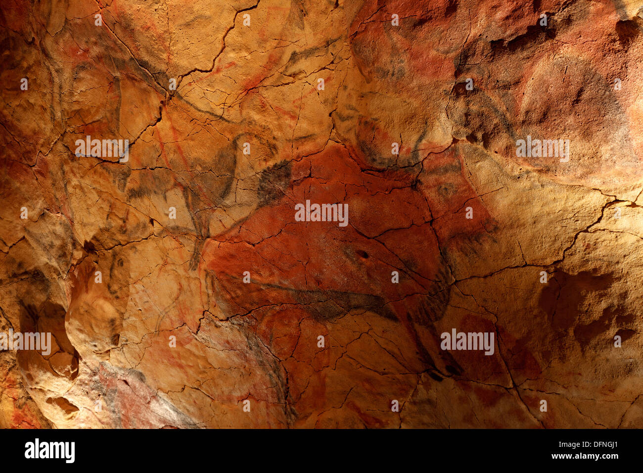 Bison, prehistoric painting, cave painting, about 25000 BC, Cueva de Altamira, Hoehle bei San Santillana del Mar, Kantabrien rep - Stock Image