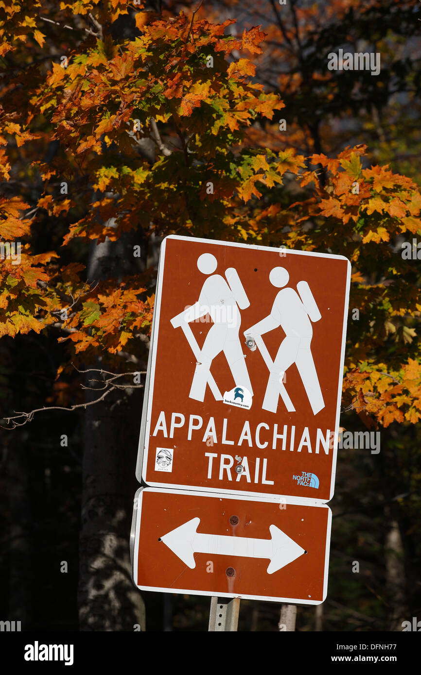 Appalachian trail sign, White Mountain National Forest, New Hampshire, USA - Stock Image