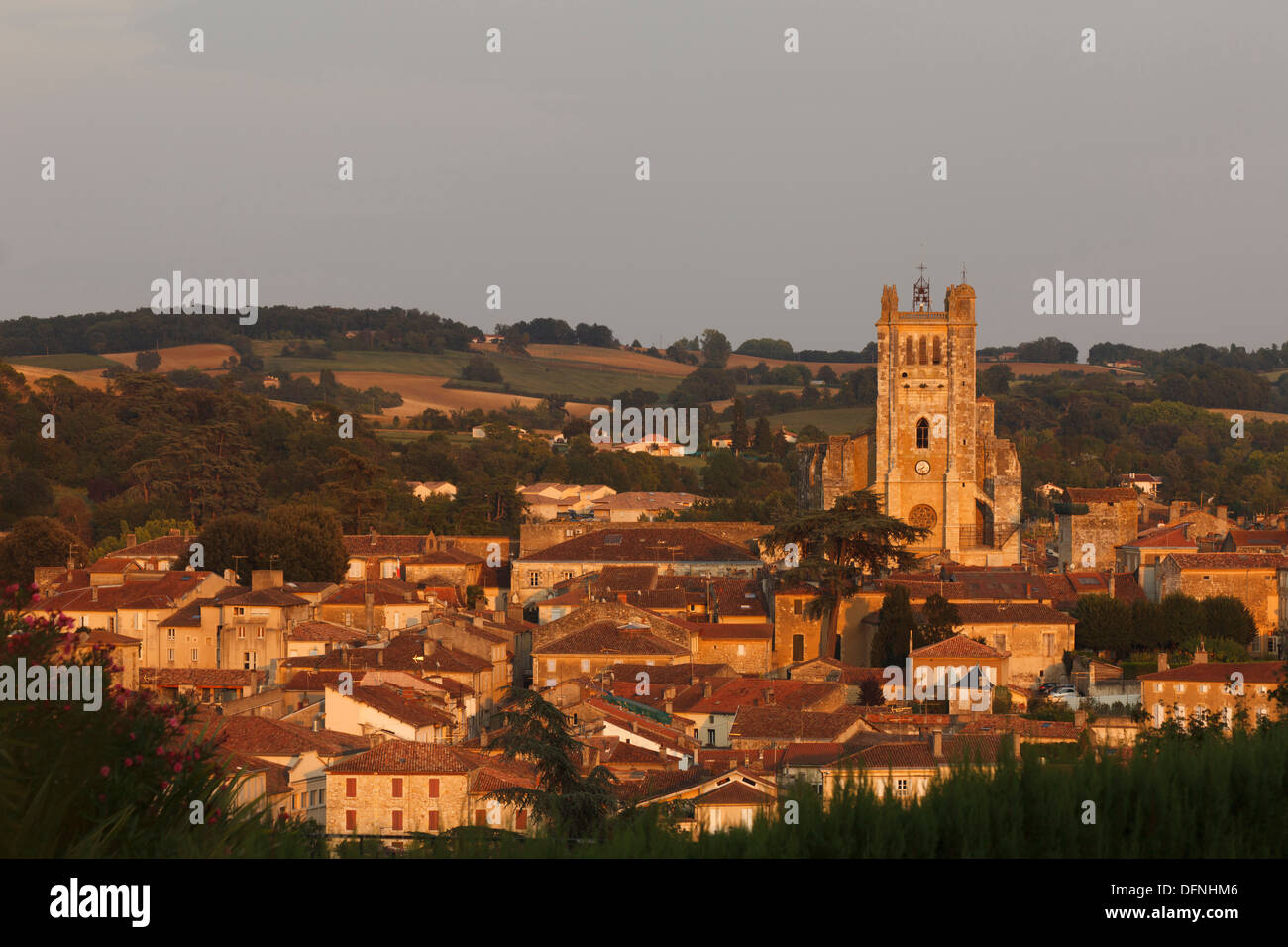 town view with Cathedral Sainte-Pierre, cathedral, gothic, Condom, Condom-en-Armanac, Department Gers, Region Midi-Pyrenees, Via - Stock Image