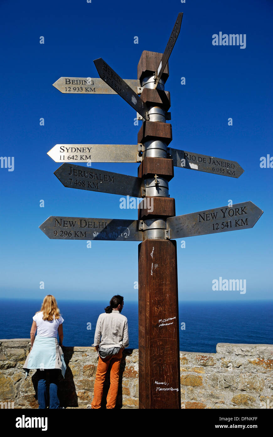 Couple by distance signpost to capital cities, Cape of Good Hope, Western Cape Province, South Africa - Stock Image