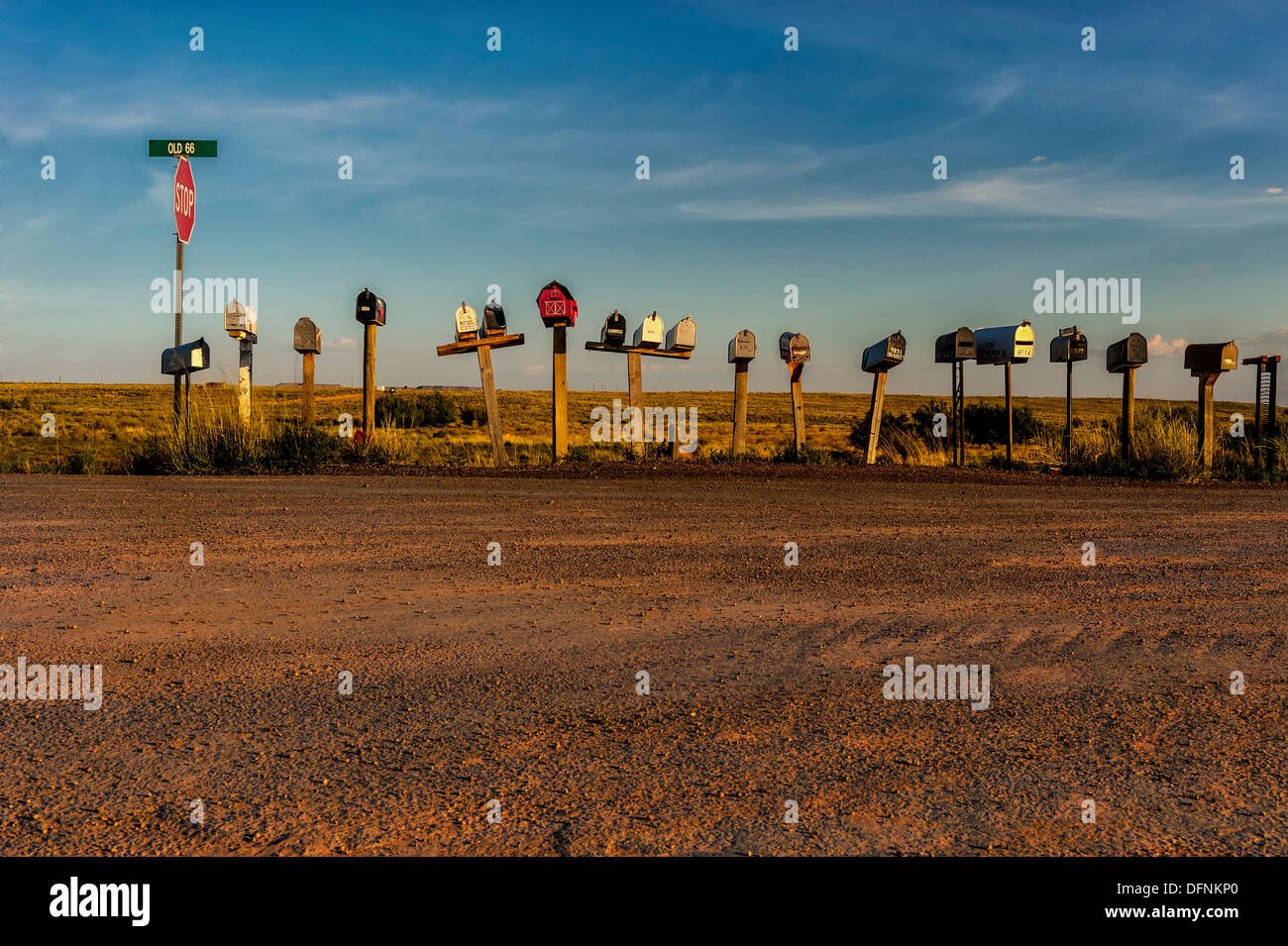 An editorial style image of rural mailboxes along old route 66,near Holbrook Arizona - Stock Image