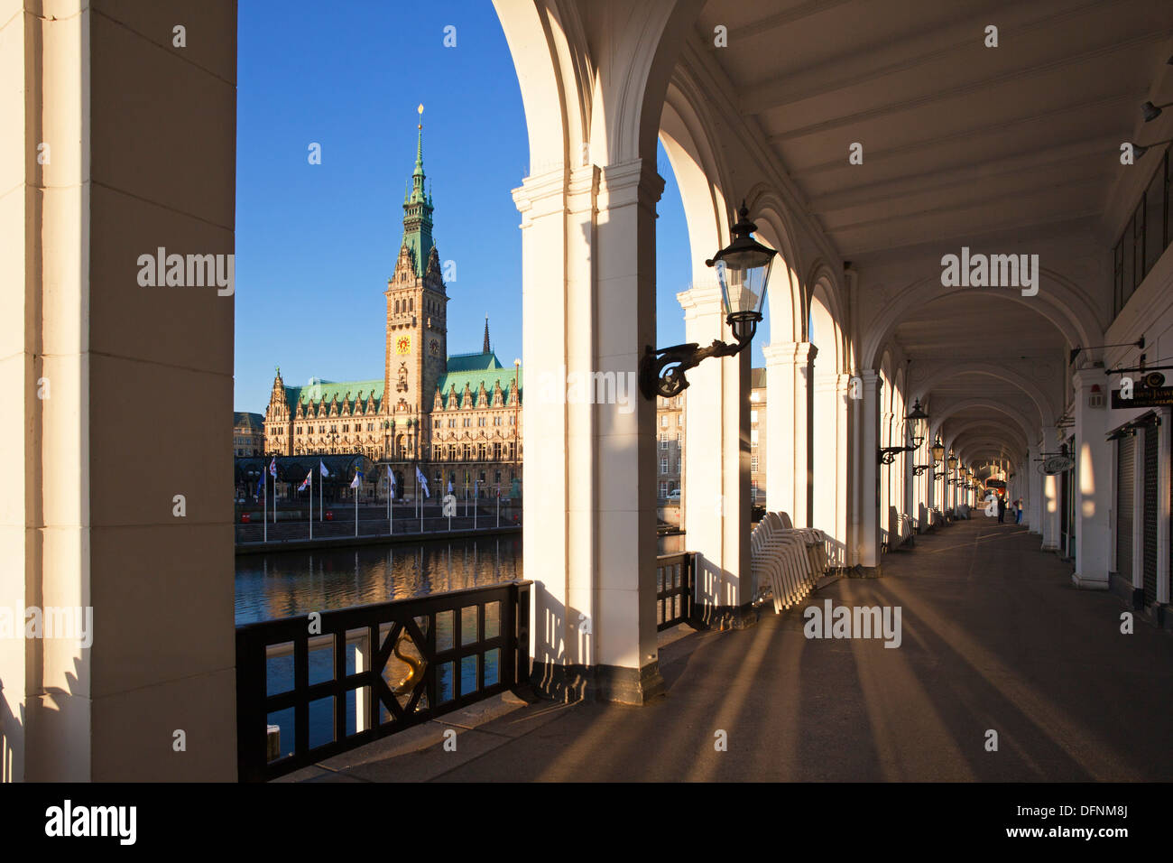 View from Alsterarkaden onto the town hall, Hamburg, Gemany, Europe - Stock Image